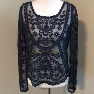 See through Lacey Navy Blue long sleeve top